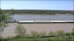 Mississippi Vicksburg barge moving along 4k Stock Footage