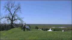 Stock Video Footage of Mississippi Vicksburg battlefield cannon inspected by tourist 4k