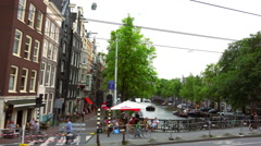 Driving through the canal district of Amsterdam Stock Footage