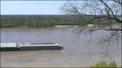 Mississippi Vicksburg barge moving up riiver 4k Stock Footage