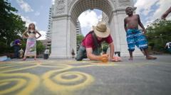 Sand Art in Washington Square Park Greenwich Village Manhattan New York City Stock Footage