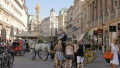 The Pestsaule in the center of Graben street in the old town of Vienna Stock Footage