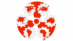 continents silhouettes on gears and spinning nuclear danger sign - stock footage
