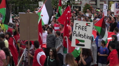 Huge political demonstration protest march in the streets for Palestine Stock Footage