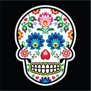 Mexican sugar skull - Polish folk art style - Wzory Lowickie, Wycinanka - stock illustration