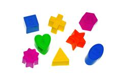 Children's multi-colored shapes with numbers Stock Photos