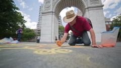 Sand Artist in Washington Square Park Greenwich Village Manhattan New York City Stock Footage