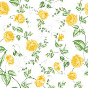 Seamless texture of orange roses for textiles - stock illustration