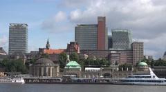 ULTRA HD 4K Hamburg city panorama old pier dock cityscape sunny day Germany land Stock Footage