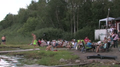 Stock Video Footage of Attendance at a water ski race