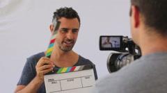 Video Production Team On Set Stock Footage