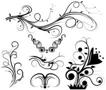 set of swirling graphic elements vector - stock illustration