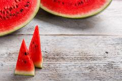 Sweet watermelon slices Stock Photos