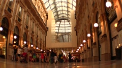Tourists and shopping at Vittorio Emanuele Gallery, Milan - stock footage