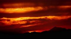 4K. Beautiful scenic dramatic fiery orange sunset sky background. Timelapse. - stock footage