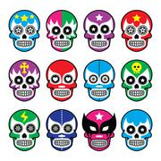 Lucha Libre - sugar skull masks icons - stock illustration