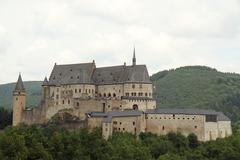 Medieval castle in small town Vianden. Stock Photos