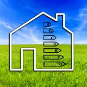 outline of a home showing energy efficiency rating - stock photo