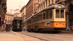Old restaurant tram at Milan (Atmosfera) Stock Footage