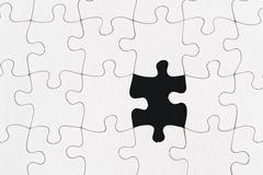 blank jigsaw puzzle one missing piece - stock illustration
