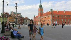 The Royal Castle with Sigismund's Column in the Castle Square in Warsaw Stock Footage