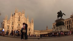 Couple in love at Dome square, tourist and cathedral Stock Footage