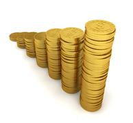 Increasing coin stacks. savings concept Stock Illustration
