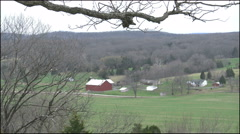 Missouri Ozark view with red barn 4k Stock Footage