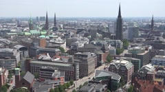 ULTRA HD 4K Aerial view Hamburg city sunny day Germany tourism attraction iconic Stock Footage