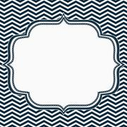 navy blue and white chevron frame with embroidery background - stock illustration