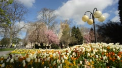 selby abbey at springtime founded in 1069 by benedict of Auxerre north yorkshire - stock footage