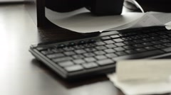 Clutter on your desk with numeric keypad, 1080p Stock Footage