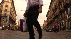 City life. Street, pedestrians, cyclists and cars Stock Footage