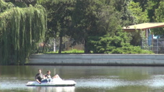 Freedom on water, new experience for young students in water buggy, summer day Stock Footage