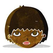 cartoon girl staring - stock illustration