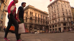 Wide angleTRAM and pedestrians Stock Footage