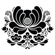 Norwegian folk art black and white pattern - Rosemaling style embroidery - stock illustration