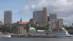 Hamburg city panorama old pier dock cityscape sunny day Germany landmark ferry  Stock Footage