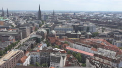 Aerial view Hamburg city sunny day cityscape beautiful skyline european rooftop  Stock Footage