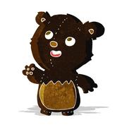 Stock Illustration of cartoon happy little teddy black bear