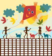 School timetable autumn - stock illustration
