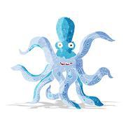 cartoon giant octopus - stock illustration