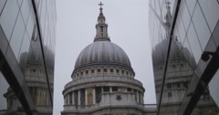 Crowd walk past St Paul's dome 4K Stock Footage