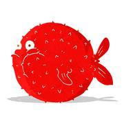 cartoon puffer fish - stock illustration