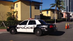 Police car in the street at South Beach, Miami Beach, USA Stock Footage