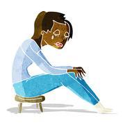 cartoon crying woman - stock illustration