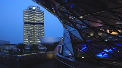 Bmw world in munich at night, bavaria, germany Stock Footage