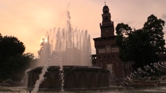MIlan, Fountain of Piazza Castello at sunset Stock Footage