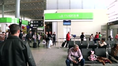 Passengers move to do the check in in Eldorado Airport in Bogota, Colombia. Stock Footage