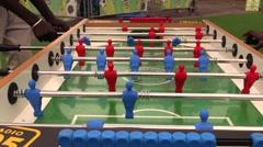 Playng foosball table Stock Footage